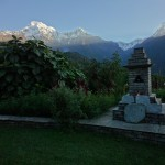 Annapurna South and Buddhist shrine