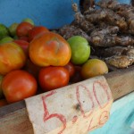 Tomatoes and yuca. 5 pesos is about 20 cents.