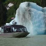 Jet boating on the Stikine River surrounded by icebergs