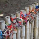 Cord bracelets of remembrance at Killing Fields.
