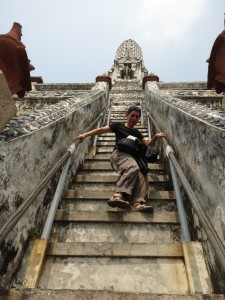 Steep steps up prong of Wat Arun