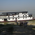 Departing Ayeyarwady Princess in Bagan