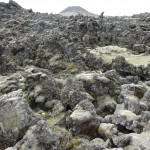 Atop lava field with Eldfell in the background