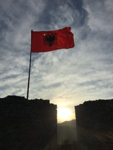 Byzantine double-eagle Albanian flag over Rozafa Castle
